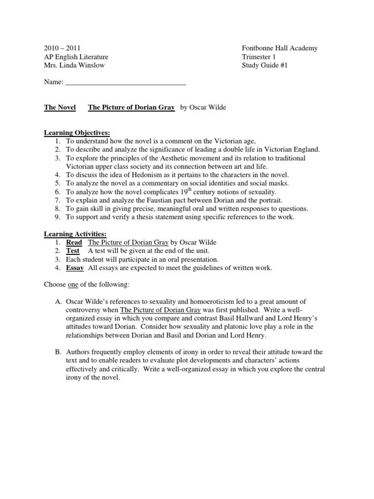 Essay Questions Dorian Gray  Dorian Gray Essay Assignment Essay Questions Dorian Gray Essay Writing High School also English Class Reflection Essay Essays On Health Care Reform