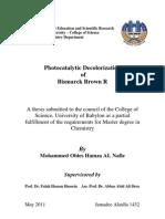 Photocatalytic Decolorization of Bismarck brown R