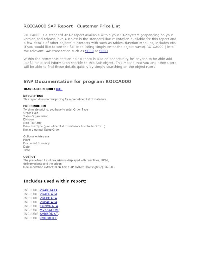 Roica000 Sap Report Customer Price List | Information Technology