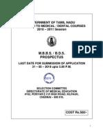 TN Medical Admissions Prospectus 2011