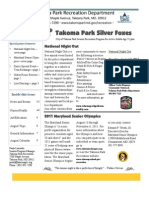 Silver Foxes Newsletter - August 2011 from the Takoma Park Recreation Department