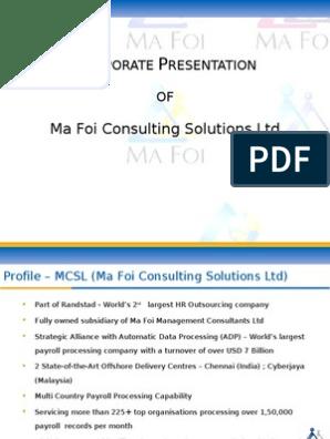 MCSL Corporate | Human Resource Management | Payroll