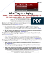 "What They Are Saying … About Obama's ""Inept"" Leadership On The Debt Ceiling"