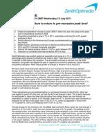 Previsiones de inversión global publicitaria (Zenith Optimedia)  JUL11