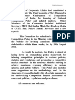 National Competition Policy Statement Of the Government of India