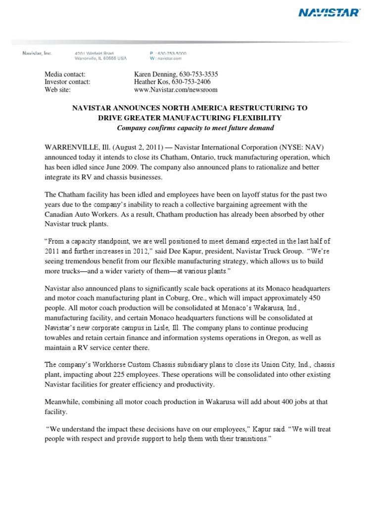 Navistar announces Chatham closure | Business | Economies