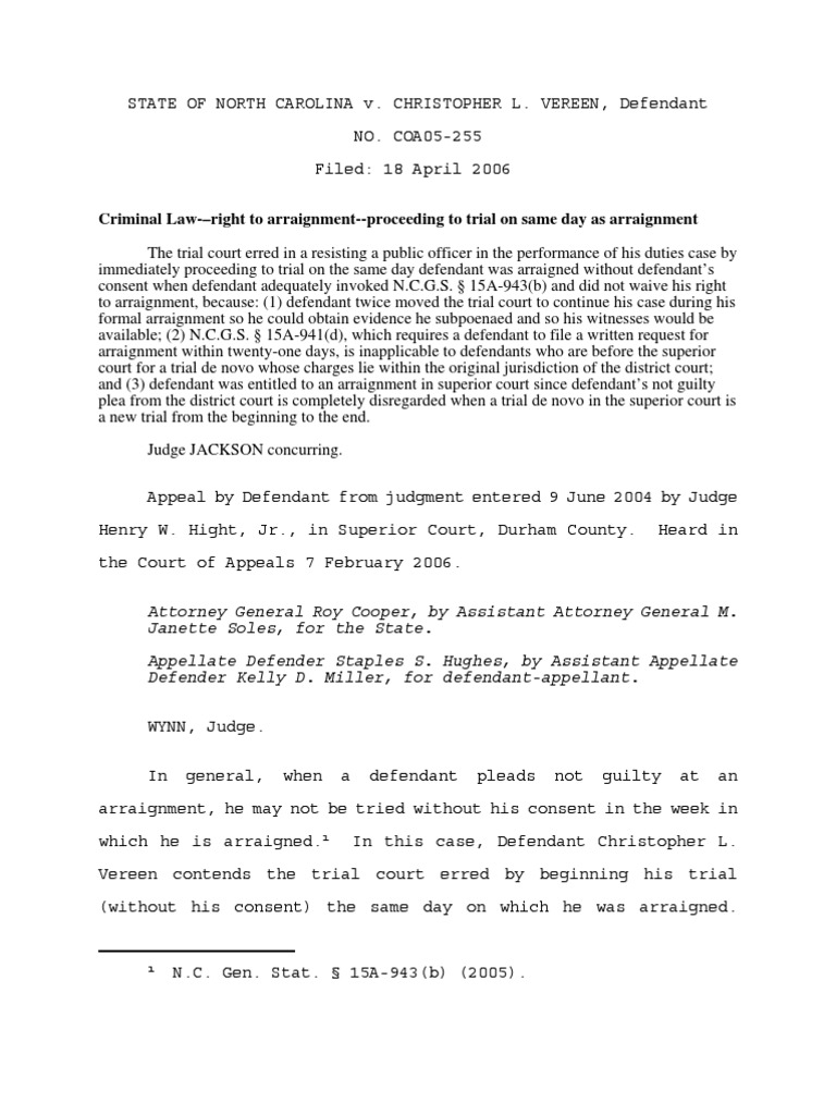 Rules for Arraignment  Vereen Case | Arraignment | Continuance