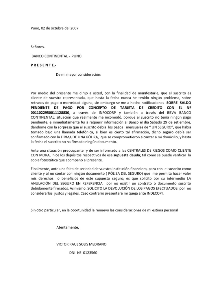 Carta a banco continental for Solicitud de chequera