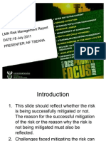 New Template for Management Areas for 2011-2012 Risk Mitigation Report