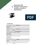 Imp Rim Ante HP Designjet T790 ePrinter 44 Pouces