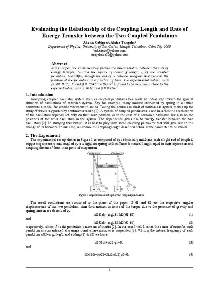 pendulum lab report Pendulum is treated in many elementary physics texts but is an idealization   this sample lab report was originally written by a curzon (sfu department of.