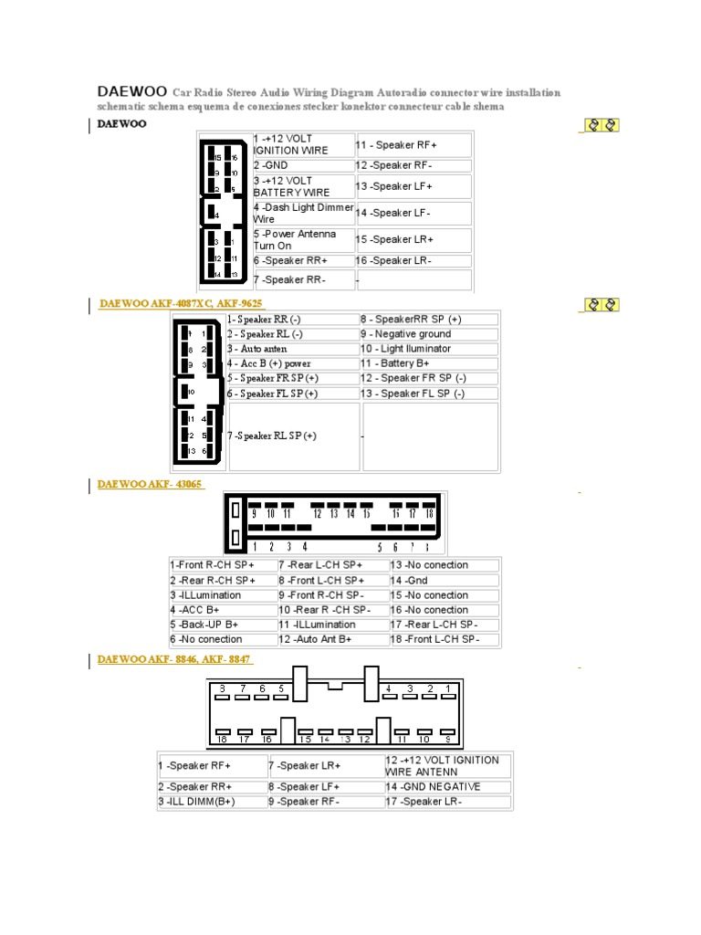 Daewoo Car Radio Stereo Audio Wiring Diagram Audi Diagrams Pdf