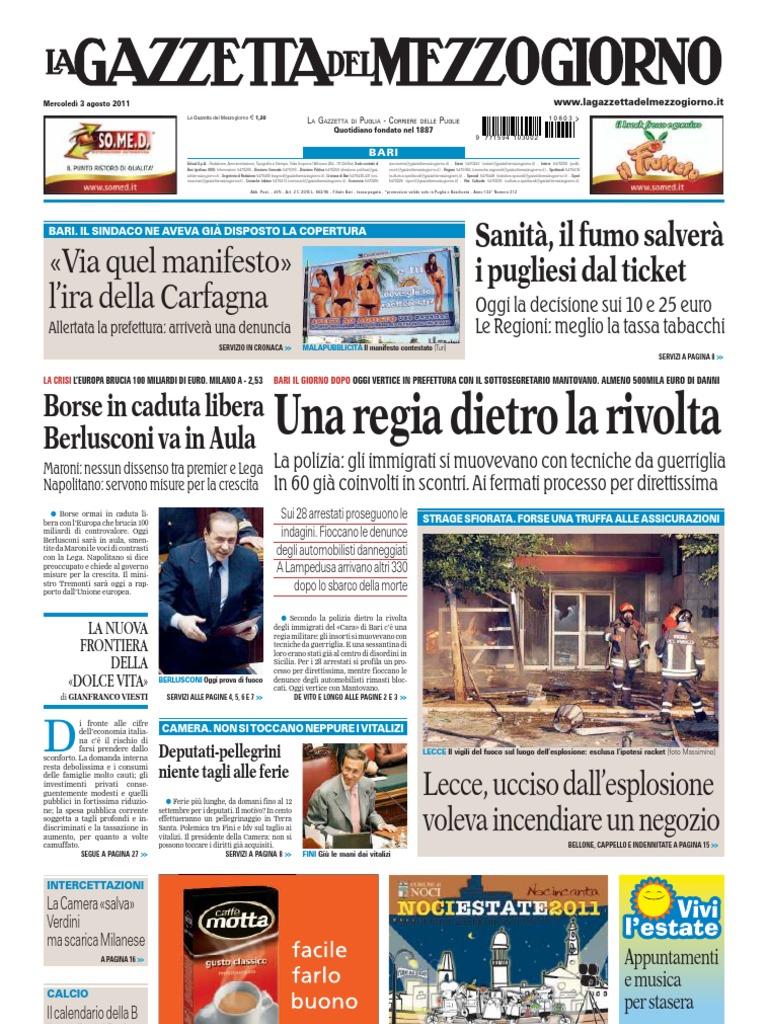 ea318697c0fa4a La Gazzetta Del Mezzogiorno 03.08.11   Right Of Asylum   Silvio Berlusconi