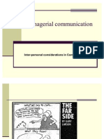 Managerial Communication - Interpersonal Considerations
