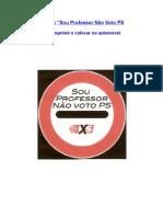 Dístico para o carro - Não voto PS