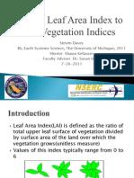 Relating Leaf Area Index to other Vegetation Indices