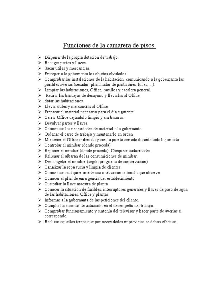 Funciones de la camarera de pisos 1 for Trabajo de camarera de pisos