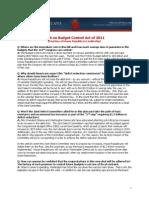 QA on Budget Control Act of 2011 (Aug 1 2011)