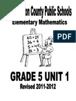 Grade 5 Unit 1 2011-2012 FINAL