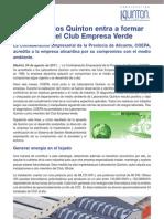Laboratorios Quinton entra a formar parte del Club Empresa Verde