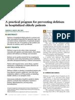 Prevenção de delirium em idosos hospitalizados