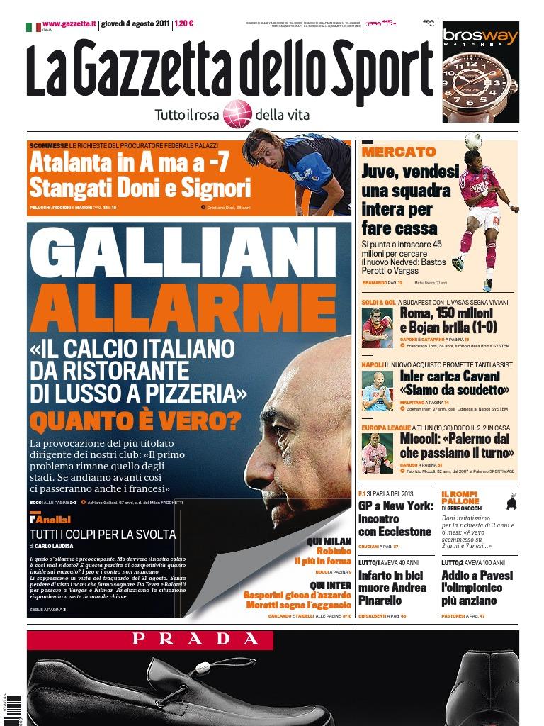 b7c3718ce93d4f La Gazzetta Dello Sport 04.08.11