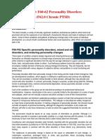 - ICD-10 F60-62 Personality Disorders - F62.0 Chronic Ptsd