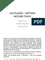 DESTILAÇÃO – MÉTODO McCABE-THIELE