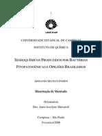 SEMIOQUÍMICOS PRODUZIDOS POR BACTÉRIAS  FITOPATOGÊNICAS E OPILIÕES BRASILEIROS