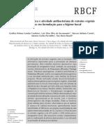 Análise farmacognóstica e atividade antibacteriana de extratos vegetais empregados em formulação para a higiene bucal