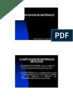 Clasificacion de Materiales Metalicos