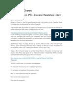 Queen of Green IPO – Investor Roadshow - May 2011
