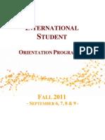 International Students - Orientation - Programme - Fall 2011