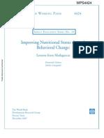 Improving Nutritional Status through Behavioral Change