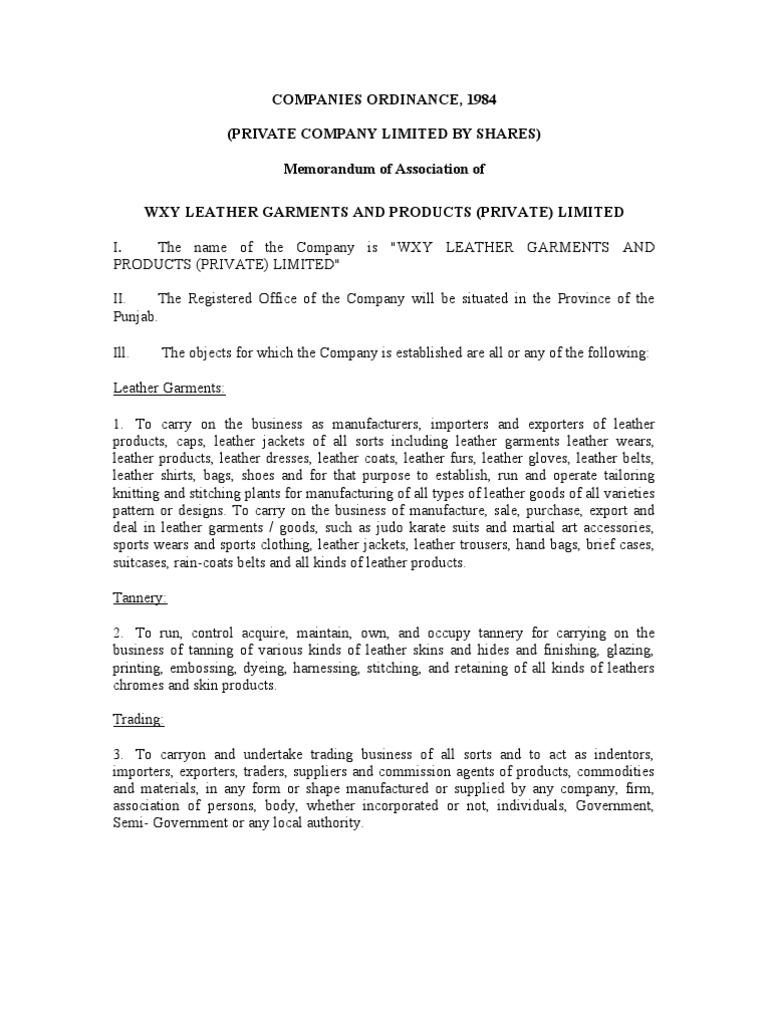 sample of memorandum of association of private limited company