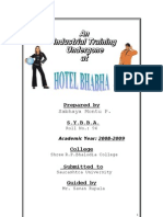 BHABHA HOTEL MBA Project Report Prince Dudhatra