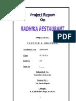 RADHIKA Restaurant MBA Project Report Prince Dudhatra
