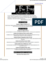 Le Fou Frog Sample Menu
