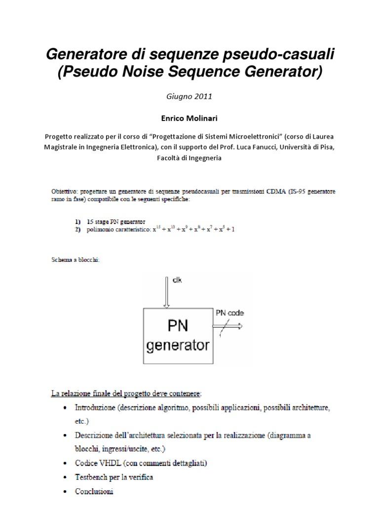 Generatore Di Sequenze Pseudo Casuali Pseudo Noise Sequence