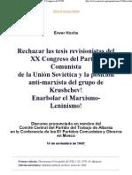 Rechazar las tesis revisionistas del XX Congreso del Partido Comunista de la Unión Soviética