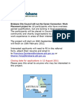 Work Placement Expression of Interest BRISBANE QLD AUSTRALIA