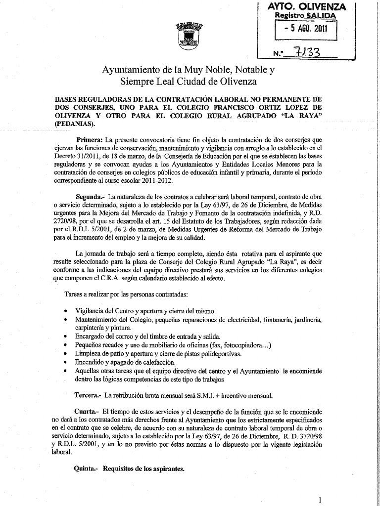Increíble Plantilla De Currículum Para Conserje Composición ...