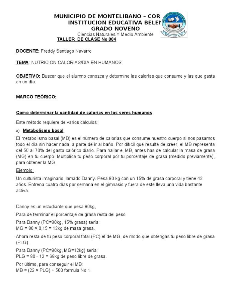 Guia No 004 Nutricon Calculo de Calorias - Caloría..