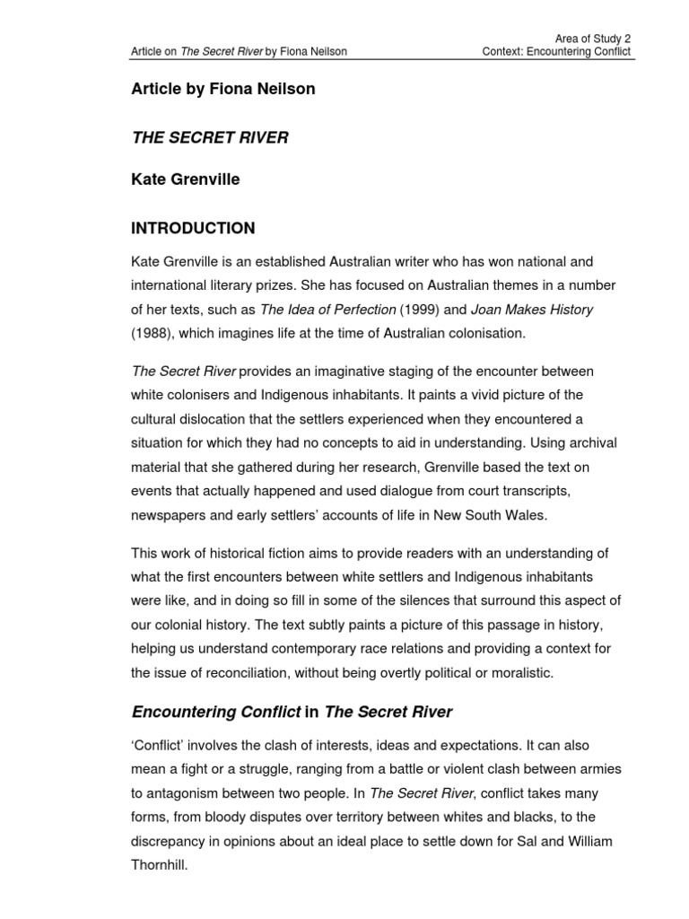 the secret river imaginative text Explanation of the famous quotes in the scarlet letter, including and contribute to the text's and not reveal her mother's secret and the.
