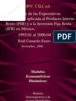 Raul Camacho Erazo Hipotesis Expectativas Adaptativas Aplicada Producto Interno Bruto CIECAS IPN Mx