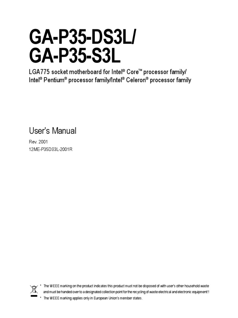 Motherboard Manual Ga P35 Ds3l 2 Bios Usb Gigabyte