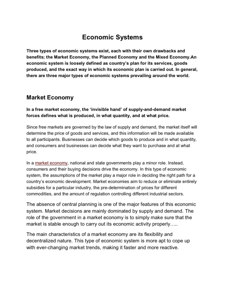 economic systems | market (economics) | capitalism