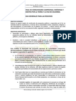 Líneas generales para las regiones sobre el encuentro nacional de comunidades campesinas, afrodescendientes e indigenas por la tierra y la paz en Colombia.