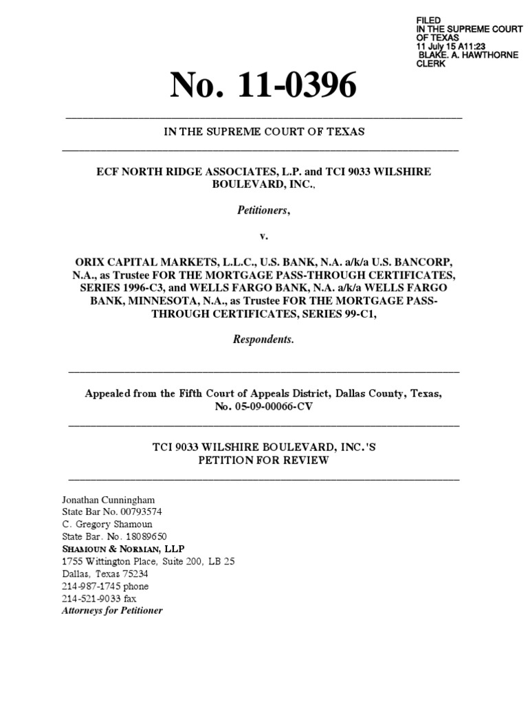 ORIX) TCI Petition for Review and Appendix -- File Stamped