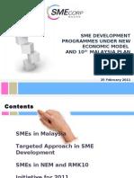 SME Development Programmes Under New Economic Model and 10MP